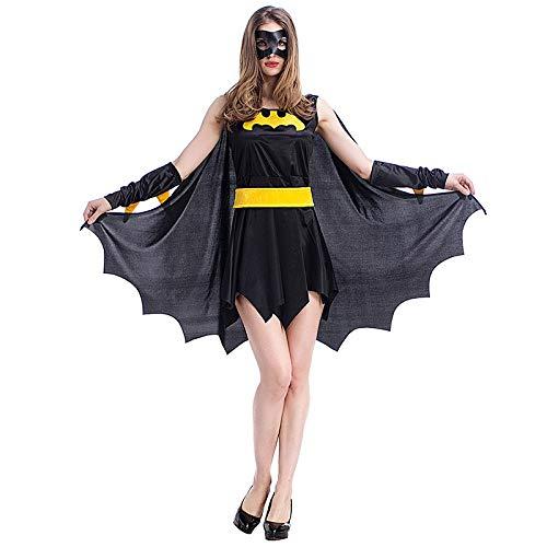 COSOER Weibliches Schwarzes Batman-Kostüm Anime-Spiel-Uniform-Anzug-Halloween-Cosplay-Partei-Kleidung,Black-M