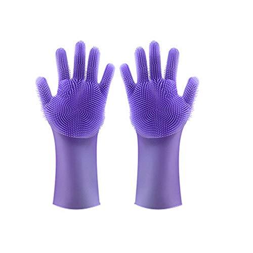 0Miaxudh 2in1 Geschirrspülhandschuhe, Silikongeschirrreinigung Wäscherhandschuhe Geschirrspülhandschuhe Küche liefert - lila -