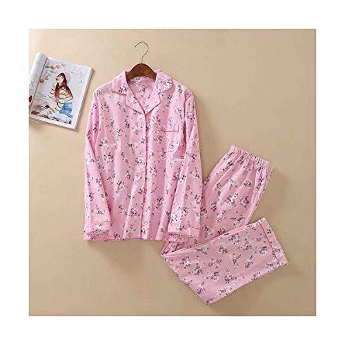 TENGTENGCAI La Mujer Pijama Cartoon Pajamasbrushed Kawaii Cute Femenino De Algodón De Manga Larga Traje De Noche Dormir Lindo Patrón M