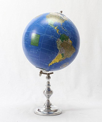 Brass & Copper Classics 8 inch Big Desktop Rotating Vintange / Antique Style Educational World Globe / Earth Globe / Political Globe / Geography Globe/ Office Globe / Home Decor / Study Globe with Aluminium Stand - Deep Blue