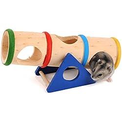 emourstm Jeu Cylindre de balançoire en bois pour petit animal drawf Hamsters Souris et autres petits animaux à fourrure