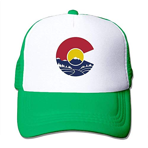 Wamnu Rocky Mountain Colorado Mesh Hat Baseball Caps Funny Grid Hat Adjustable Trucker Cap Colorado Fleece