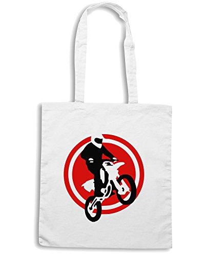 T-Shirtshock - Borsa Shopping OLDENG00190 motorcycle jump fire wings Bianco