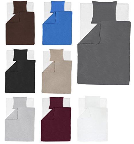 Jersey Bettwäsche (2-tlg. Jersey Bettwäsche / Bettdecke und Kissenbezug Set 100% Baumwolle Unifarben mit YKK Reißverschluss (Anthrazit / Grau, 135x200cm (1xBettwäsche) + 80x80cm (1xKissenbezug))