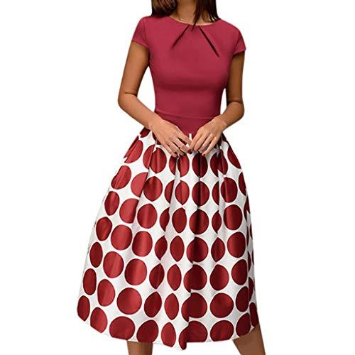 Zegeey Damen Vintage Kleid Kurzarm Einfarbig Rundhals Ausschnitt A-Line Saum Drucken Retro Abendkleid Rockabilly Kleid Faltenrock KostüM Kleid Party - Kimono Kostüm Mieten