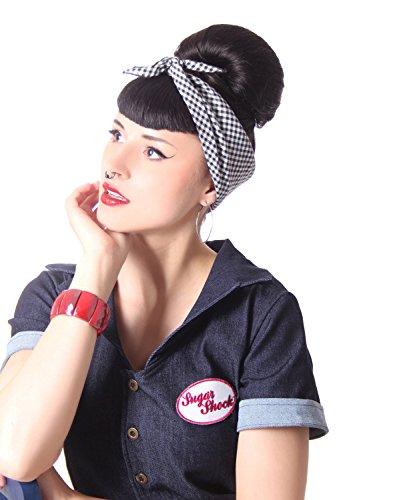 SugarShock 50s retro Gingham Pin Up Rockabilly Hairband Frisuren Haar Tuch Nickituch Bandana, Farbe:schwarz weiss, Größe:onesize