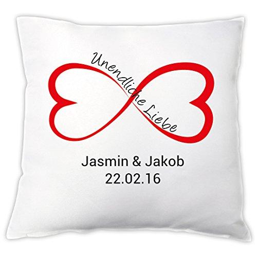 """Kissen \""""Unendliche Liebe\"""" mit Namen und Datum, Zierkissen, Geschenkidee, Valentinstagsgeschenk, Hochzeitsgeschenk, Geschenk für Verliebte"""
