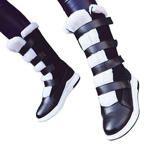 Preisvergleich Produktbild TianWlio Stiefel Frauen Herbst Winter Schuhe Stiefeletten Boots Lässige Runde Zehe Schuhe Flach mit Schnee Stiefel Kurze Plüsch Stiefel mit Mittlerem Schlauch Schwarz 40