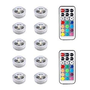 10pcs Le luci submergibili del LED, le luci subacquee impermeabili multicolori SMD 3528 le luci di umore con il telecomando di IR per il vaso, le ciotole, la piscina, l'acquario, la festa, i nozze