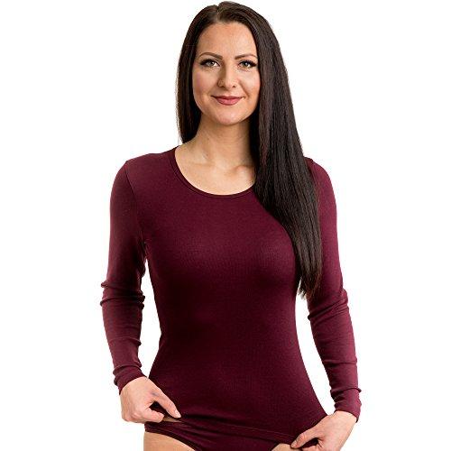 HERMKO 17830 2 Stück Damen langarm Unterhemd, Shirt aus Baumwolle / Modal Bordeaux