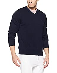 Tommy Hilfiger Mens Wool Sweater (8907504766789_A7AMS126_S_Sky Captain Heather)