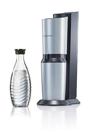 SodaStream Wassersprudler Crystal Umsteiger (1 x 0,6L Glaskaraffe, ohne CO2-Zylinder), Titan-silber