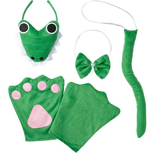 Kostüm Set Krokodil für Kinder, Haarreif mit Gesicht, Handschuhe, Fliege und Schwanz ()