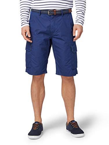 Flap-tasche Indigo Jeans (TOM TAILOR für Männer Hosen & Chino Relaxed Morris Bermuda Shorts Blue Indigo Check Print, 32)