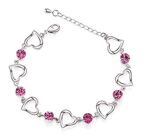 Findout placcato platino ametista rosso rosa blu cristallo a forma di cuore bracciale in argento per donne, ragazze (f1813) e rame, colore: red, cod. f974