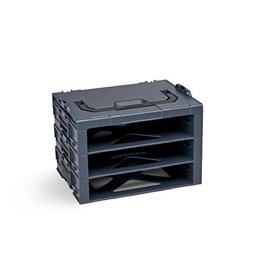 Bosch Sortimo i-Rack 3 Fach in Anthrazit für Werkzeugkoffer | Innovatives Transportsystem | Bosch Werkzeugkoffer Leer | Kompatibel mit L-Boxx