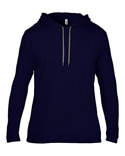 Anvil Anvil adult fashion basic long sleeve hooded tee Navy/ Dark Grey S - Anvil Adult Fashion