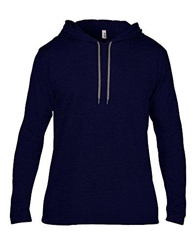 Anvil Anvil adult fashion basic long sleeve hooded tee Navy/ Dark Grey