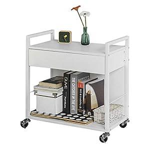 SoBuy® FKW50-W Beistellwagen Rollwagen mit 2 Ablagen und 1 Schublade, Küchenwagen in weiß, BHT ca: 60x64x33cm