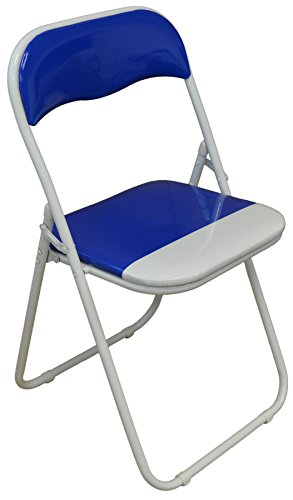 Harbour Housewares Blue / White Padded, Folding, Desk Chair