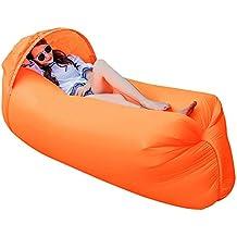 Haehne Portable Lazy Lounger Saco de Dormir, Interior al Aire Libre de Aire Sofá Sofá Cama de Sueño, Nylon Impermeable Plegable, Beanbag para Descansar, Camping de Verano, Playa, Pesca (Naranja)