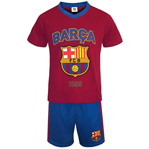 FC Barcelona - Kinder Schlafanzug-Shorty - Offizielles Merchandise - Geschenk für Fußballfans - Rot - 8-9 Jahre (Barcelona-geschenk-set)