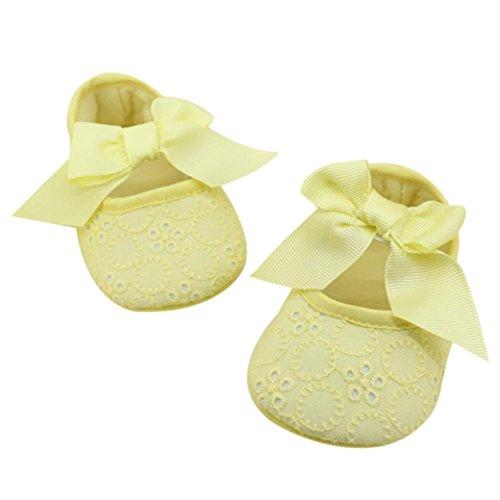 Ouneed® Krabbelschuhe , Mädchen Baumwoll Bandbowknot weiche Unterseite Blume Prewalker Gelb