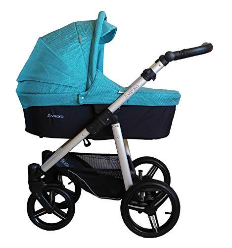 Vizaro ONYX 2019 Trío 3 en 1 - Carro Bebé GAMA ALTA - MARCA ESPAÑOLA - Ligero y funcional - Hecho en UE - TEXTILES MUY ALTA CALIDAD - Garantía 3 Años - Textil TURQUESA Chasis PLATEADO