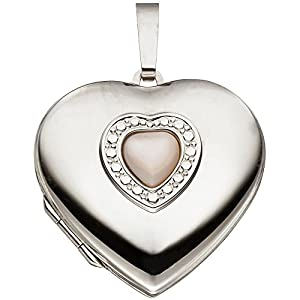 Anhänger zum Öffnen Medaillon Herz im Herz 925 Silber Perlmutt Einlage Amulett