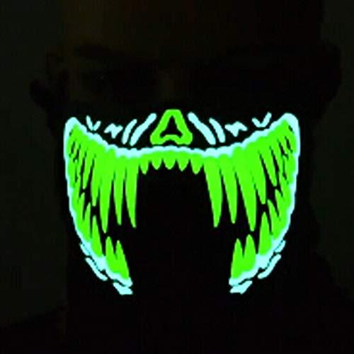Mascara Halloween LED, Zolimx Luz Fría Máscara Terror Música Control Sonido Luz Fría Luminosa Máscara Luminosa (D)