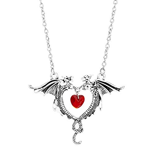 Halsketten für Herren Schmuckspiel Von Thrones Fashion Crystal Heart Double Dragon Pendant Necklaces for Girl Women Valentine Es Day Gift (Dragon Girl Kostüme)