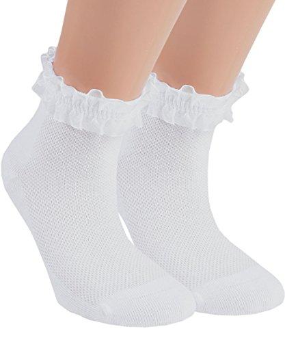 Vitasox 21094 Mädchen Kinder Socken Rüschen Rüschensocken Kindersocken Baumwolle ohne Naht weiß 3er Pack 27/30