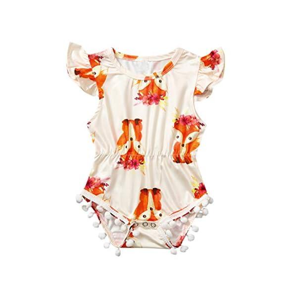 HEETEY Pijama para niña, Infante, bebé, niña, niño, Pajarita, Dibujos de presión, borlas, bóxer, Traje de Juego, sin… 1
