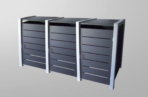 Mülltonnenbox Malone Line Duo für drei 240 Liter Tonnen, als Durchreicher, d.h. Türen auch hinten - 2