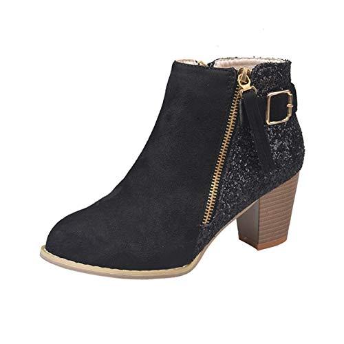 VJGOAL Damen Stiefel, 7CM Damen Party Winter Runde Zehe Hohe Dicke Zipper Ankle Seite Gemischte Farben Herbst Winter High Heels Schuhe (Schwarz, 39 EU)