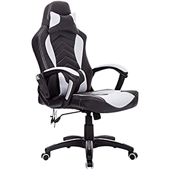 This item Homcom Reclining Office Massage Chair Racing Chair Recliner  6 Point Massage High Back Heating Swivel Desk Chair  Black and White Homcom Reclining Office Massage Chair Racing Chair Recliner 6  . Office Chair Recline. Home Design Ideas