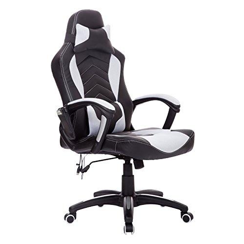 Homcom Fauteuil inclinable Fauteuil de bureau chaise de massage Racing Fauteuil massant arrière Chauffage Chaise de bureau pivotant