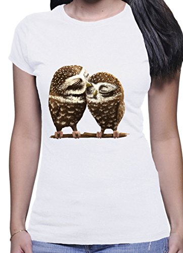 BlackMeow Two Cute Loving Owls Design Donna Short Sleeve Casual White T- Shirt - Medium 031bd0f01