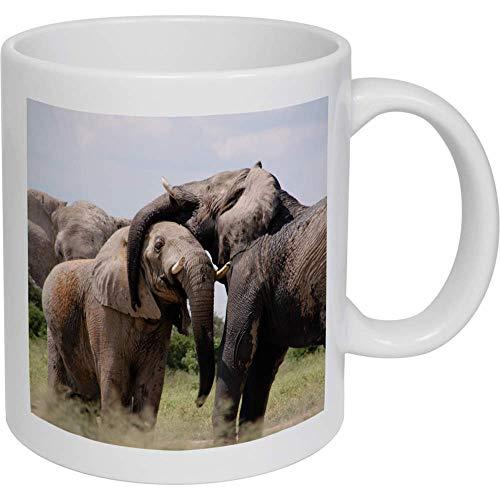Stamp Press 320ml 'Elefantes' Taza de Ceramica