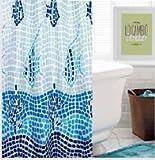 (23) Vorhang Dusche 140x 180cm mit Gürtelschlaufe fertig zum Aufhängen, wasserabweisend * Kunststoff * Waschbar * ohne Wasserdicht * (mosacio pezes)