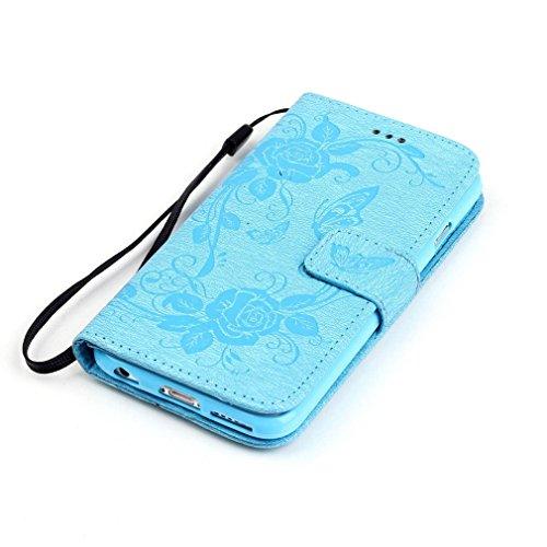 SZHTSWU Hülle für iPhone 6 6s, Magnetverschluss Schmetterling Blumen Series mit Lanyard Strap Design PU Leder Tasche Weiche Silikon Schutzhülle Hülle Flip Wallet Case Handyhülle im Bookstyle Design mi Blau