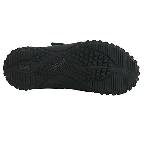 Lonsdale enfants Fulham Chaussures de sport Sport rembourré Sneaker Chaussures en cuir Noir - Noir
