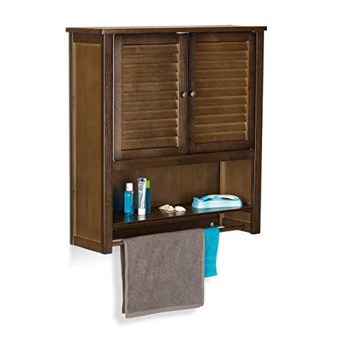 Relaxdays Hängeschrank Dunkelbraun LAMELL, Badschrank mit Handtuchhalter, Wandschrank aus Bambus, HBT: 66 x 62 x 20 cm
