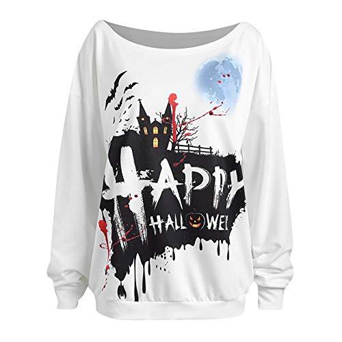 Oliviavan Frau Lässige Halloween Langarm Print Pullover Bluse Shirts Sweatshirt Rollenspiel Cosplay Kleid Damen Halloween Kostüm Lang Geist Halloween Kostüm T Shirts beiläufiges Hemd große größen