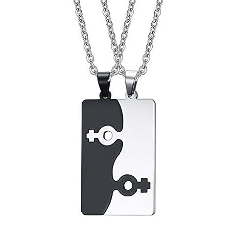 Vnox Edelstahl weibliches Symbol Puzzlespiel Paar Halsketten Anhänger für bester Freund Homosexueller u Lesbischer Stolz