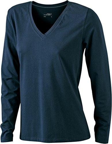 JAMES & NICHOLSON Langarm Shirts aus weichem Elastic-Single-Jersey Navy