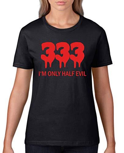 (Comedy Shirts - 333 I'm only Half Evil - Damen T-Shirt - Schwarz/Rot Gr. S)