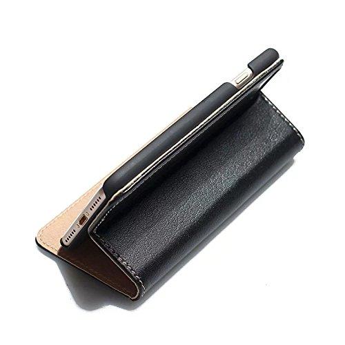 JIALUN-Telefon Fall Für IPhone 7 mit äußeren 2 Kartensteckplätze Stilvolle hochwertige echtem Leder Fall horizontale Flip Stand Case Cover ( Color : Wine ) Black