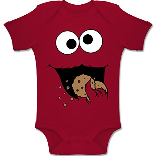 Shirtracer Karneval und Fasching Baby - Keks-Monster - 6-12 Monate - Rot - BZ10 - Baby Body Kurzarm Jungen Mädchen