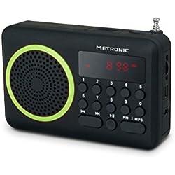 Metronic 477202 Radio Portable FM Compact avec Port USB + Lecteur Carte Micro SD - Noir et Vert